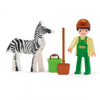 Tierpfleger mit Zebra und Zubehör